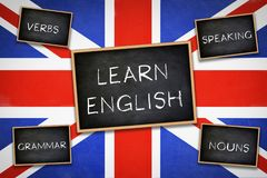 Learn English. Grammar Verbs Nouns Speaking - Practice royalty free stock images