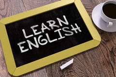 Learn English Handwritten on Chalkboard Stock Photos