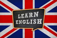 Learn the English language. Chalkboard concept royalty free stock photo