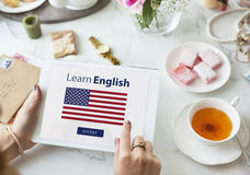 Learn english language Online, education concept Royalty Free Stock Image