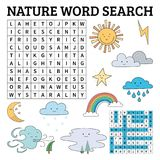 Learn English with a nature word search game for kids. Vector il Royalty Free Stock Photography