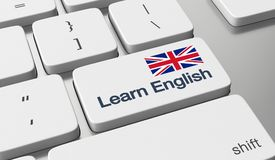 Learn English online. Learn English language online concept Royalty Free Stock Photography