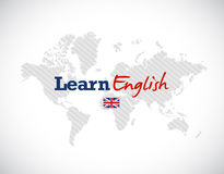 Learn english sign over a world map. Royalty Free Stock Image