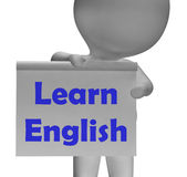 Learn English Sign Shows ESOL Or Second Language Stock Photos