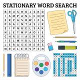 Stationary word search game for kids. Vector illustration for le Stock Photography