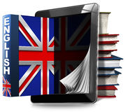 Learn English - Tablet Computer and Books Stock Photo