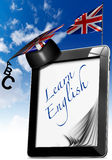 Learn English - Tablet Computer with Graduation Hat Royalty Free Stock Image