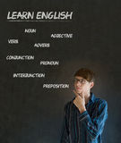 Learn English teacher with chalk background. Learn English confident handsome man teacher thinking with hand on chin and glasses chalk blackboard background stock photos