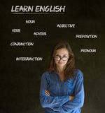 Learn English teacher with glasses. Learn English confident beautiful woman teacher with glasses Stock Photo
