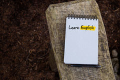 Learn English Text written on notebook page Royalty Free Stock Photo