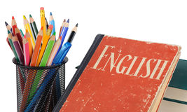 Learn English, textbook and pencils isolated Stock Photos