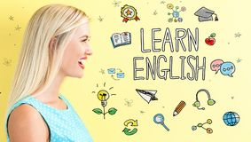 Learn English theme with young woman. On a yellow background Royalty Free Stock Images