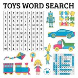 Toys word search game for kids. Vector illustration for learning Royalty Free Stock Photo