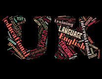 Learn English in UK letters 2. Learn English in UK letters, word cloud concept on black background Stock Photography