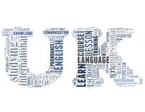 Learn English in UK letters 3. Learn English in UK letters, word cloud concept on white background Stock Photos