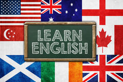 Learn English. Vintage background concept stock photos