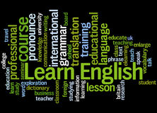 Learn English, word cloud concept 4. Learn English, word cloud concept on black background Stock Photo