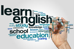 Learn english word cloud. Concept on grey background Stock Image
