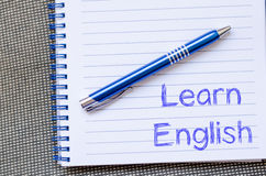 Learn english write on notebook. Learn english text concept write on notebook with pen Stock Photos