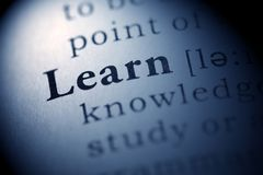 Learn. Fake Dictionary, Dictionary definition of the word Learn Royalty Free Stock Image