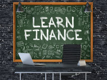 Learn Finance - Hand Drawn on Green Chalkboard. 3D Illustration. Learn Finance - Hand Drawn on Green Chalkboard in Modern Office Workplace. Illustration with Stock Photo
