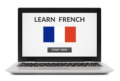 Learn French concept on laptop computer screen Royalty Free Stock Photos