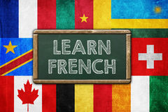 Learn French. Vintage background concept Royalty Free Stock Images
