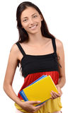 Learn German. Beautiful student with Germany flag blouse holding books. Learn German. Isolated on white Royalty Free Stock Image