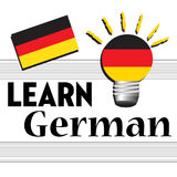 Learn German. Colorful background with the German flag and the text learn German written with black letters Stock Photography