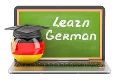 Learn German concept with laptop blackboard and graduation cap,. 3D Royalty Free Stock Images