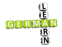 Learn German Crossword. 3D Learn German Crossword on white background Stock Photo