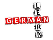 Learn German Crossword. 3D Learn German Crossword on white background Stock Photography