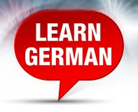 Learn German Red Bubble Background stock images