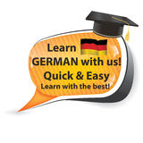 Learn German with us - speech bubble Stock Photo