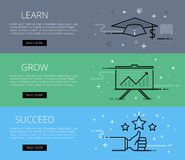 Learn. Grow. Succeed. Line vector web banners set Royalty Free Stock Images