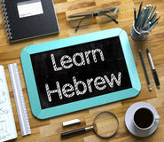 Learn Hebrew Concept on Small Chalkboard. 3D Royalty Free Stock Photos