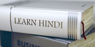 Learn Hindi Concept. Book Title. 3D. Stock Photos