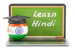 Learn Hindi concept with laptop blackboard and graduation cap, 3. D Royalty Free Stock Photo