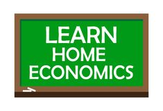 Learn home economics write on green board. Vector illustration. Learning is the process of acquiring new or modifying existing knowledge, behaviors, skills Stock Photo
