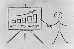 Learn about how to invest. Teacher or executive explaining about investment Stock Photo