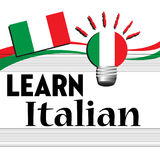 Learn Italian. Colorful background with the Italian flag and the text learn Italian written with black letters Royalty Free Stock Photography