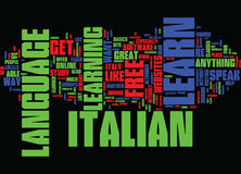Learn Italian For Free Easily Text Background Word Cloud Concept Stock Image
