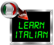 Learn Italian - Metal Billboard. Metallic billboard with rectangular and round frame, flag of Italy, red arrow and the phrase Learn Italian. Isolated on white Stock Photos