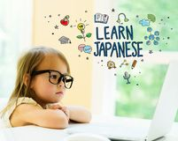 Learn Japanese text with little girl Stock Image