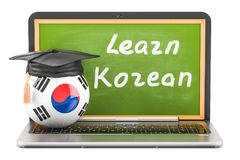 Learn Korean concept with laptop blackboard, graduation cap and. Flag of South Korea, 3D Royalty Free Stock Photos