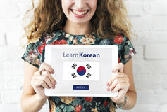 Learn Korean Language Online Education Concept Royalty Free Stock Photography