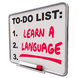 Learn a Language To Do List Foreign Dialect. Learn a Language words on a to-do list to illustrate the value and skill in learning and practicing a foreign or vector illustration