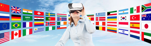Learn languages in the future technology concept Royalty Free Stock Photos