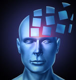 Learn And Lead. Education and leadership concept with a human head being segmented into cubic shapes and spreading outward as a symbol of business training Royalty Free Stock Photography