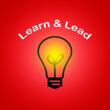 Learn and Lead - Leadership business concept. With red background Stock Photography